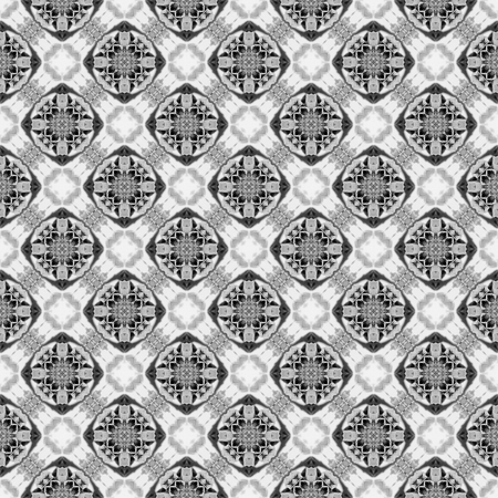 Abstract seamless pattern. Black and White background. Kaleidoscope from flowers. Hydraulic tile design. Foto de archivo