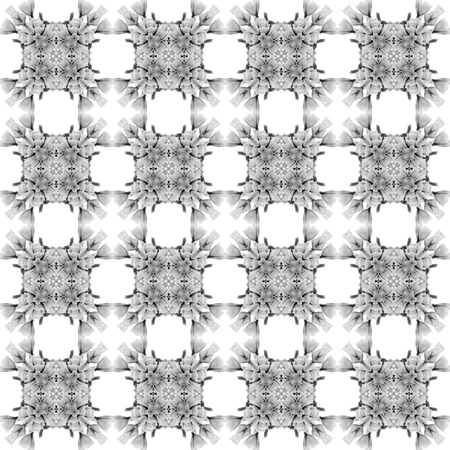 Abstract seamless pattern. Black and White background. Kaleidoscope from flowers. Hydraulic tile design. Standard-Bild