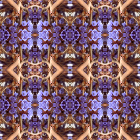 Abstract flowers seamless pattern background. Kaleidoscope from flowers. Hydraulic tile design.