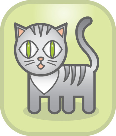 grey cat: lovely grey cat on a green background Illustration