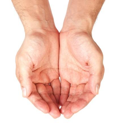 hand held: Mani tenute insieme isolato su sfondo bianco