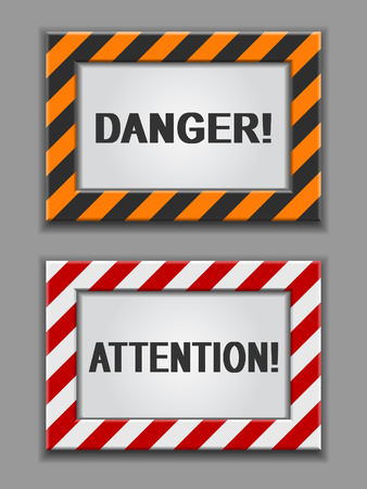 dangerous work: red and yellow warning signs on a grey background Illustration