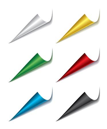 Set van gebogen verschillende kleuren pagina hoeken