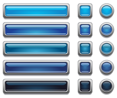 shiny button: Blue shiny vector buttons  Illustration