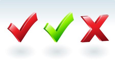 rood kruis: Glossy Tick & Cross Sign. Vector illustratie