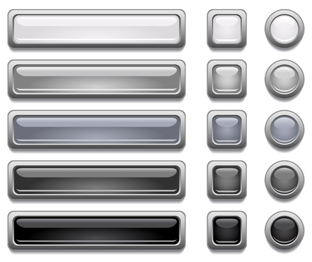 rectangle: Black, white and gray shiny vector buttons