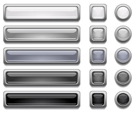 cromo: Botones de color negro brillante, blanco y gris de vectores Vectores