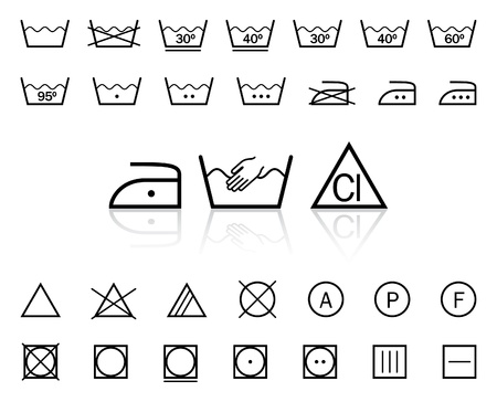 textile care symbol: Vector washing signs