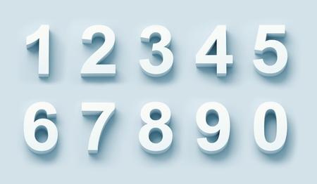 numero nueve: 3d números blancos establecidos en la luz azul