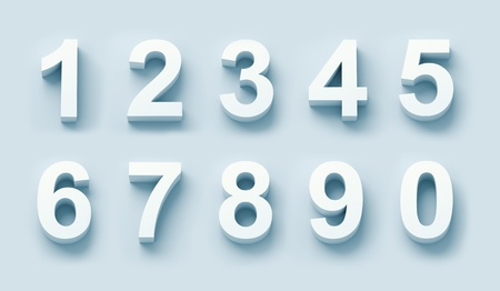 number icons: 3d white numbers set in blue light Stock Photo