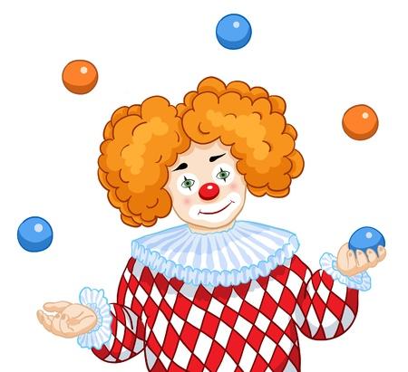 A smiling Clown juggles colored balls Vector