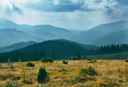 Autumn cloud landscape Carpathian Mountains photo