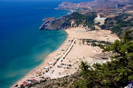 tsampika: Tsambika beach on Rhodes Island, Greece  View from the Tsampika monastery Stock Photo