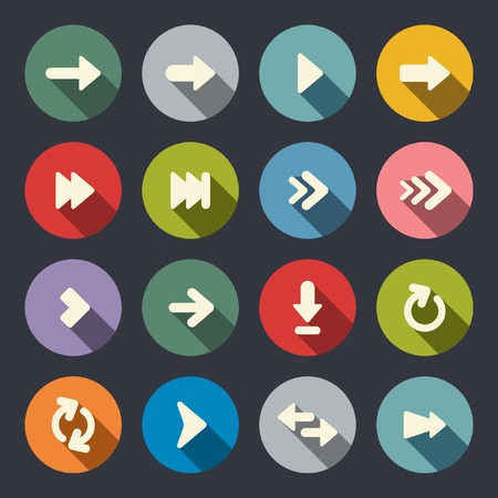 Arrow sign flat icon set  Illustration