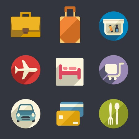 Flat icon set  Airport and airlines services   Vector
