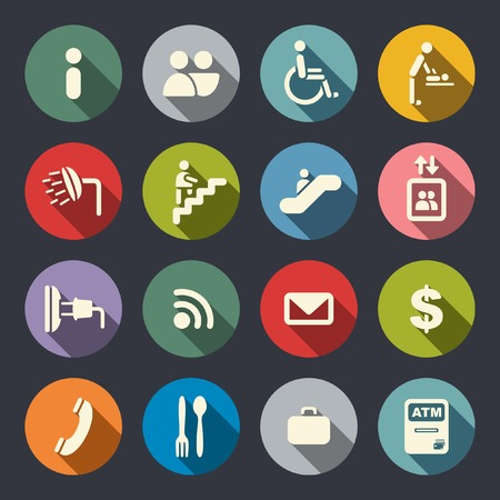 Airport services flat icons  Vector