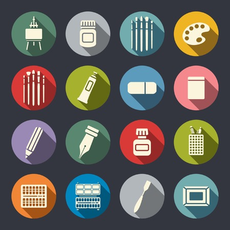ruling: Art tools flat icon set