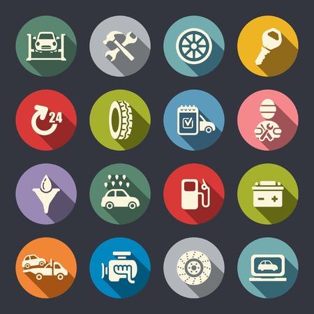 bateria: Servicio de coche icono plana conjunto