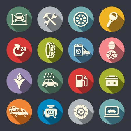 Car service flat icon set