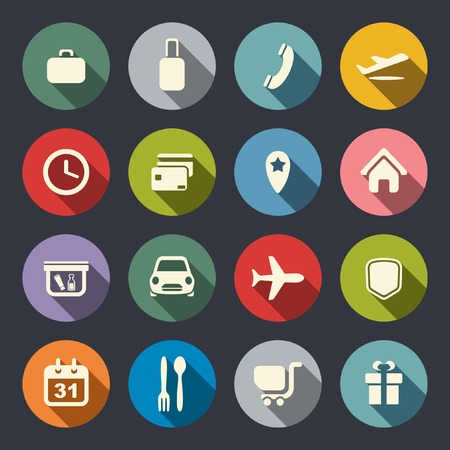 Airport and airlines services flat icons
