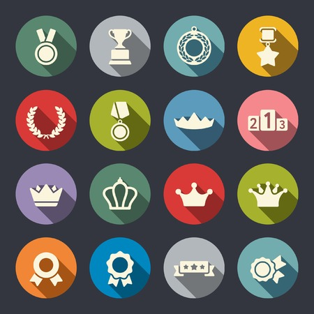 victory winner: Awards icons set