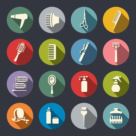hair dryer: Flat hairdressing icon set  Illustration