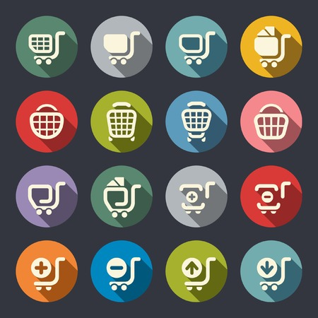 add to shopping cart icon: Shopping cart icon set  Illustration