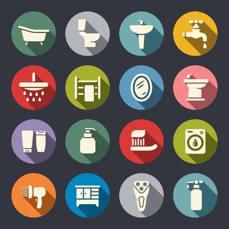 grifo agua: Baño plana icon set Vectores