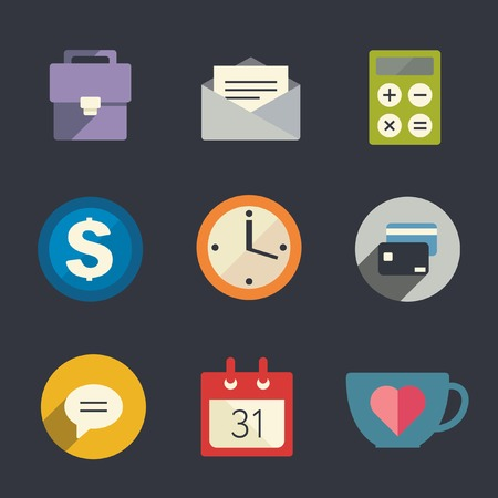 email icon: Flat icon set  Business