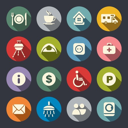 medical shower: Camping flat icons Illustration