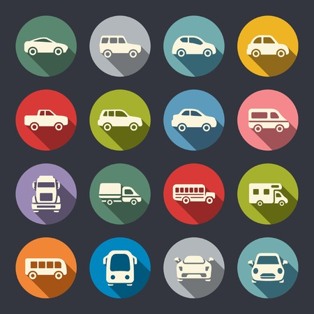 transportation silhouette: Car flat icon set