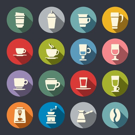espresso machine: Coffee flat icons