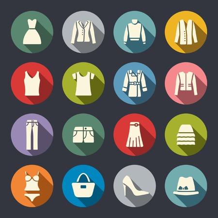 moda ropa: Ropa iconos planos