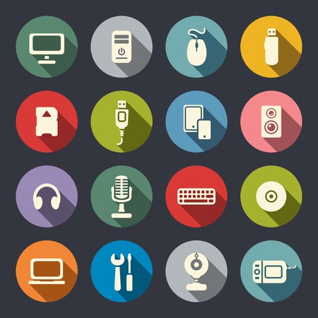 flash drive: Computer flat icons set  Illustration