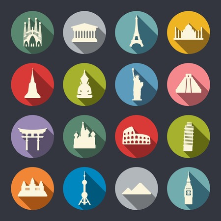 temple tower: Travel landmarks icon set