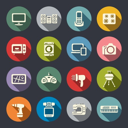 Electronics flat icon set  Vector