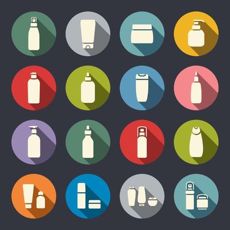 Cosmetic bottle flat icons