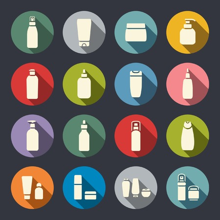 Cosmetic bottle flat icons