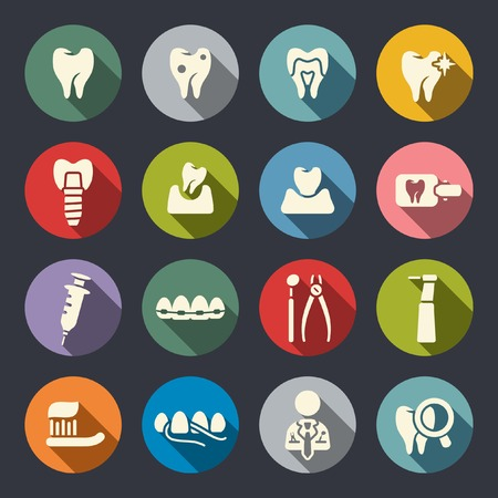 implants: Dental icons Illustration