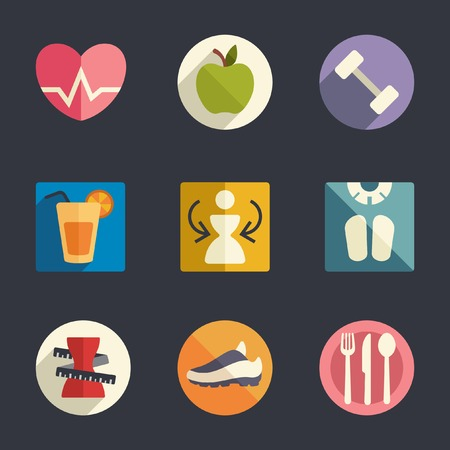 lat icon set  Diet and fitness theme  Illustration