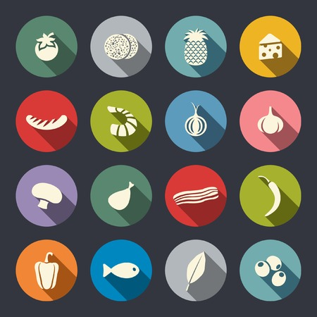 pizza ingredients: Food icon set  Illustration