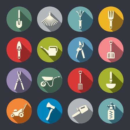 Herramientas de jardinería conjunto de iconos Vectores