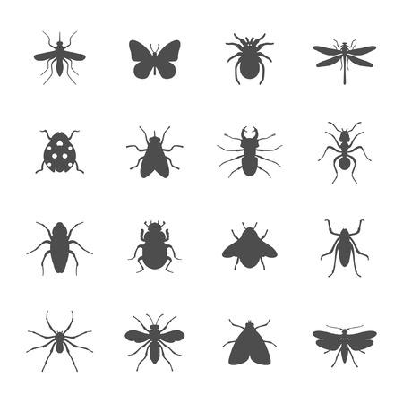 avispa: Insectos iconos Vectores