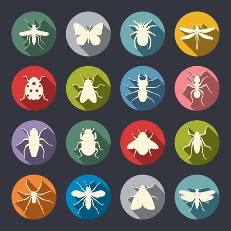 昆虫のアイコンを設定  イラスト・ベクター素材