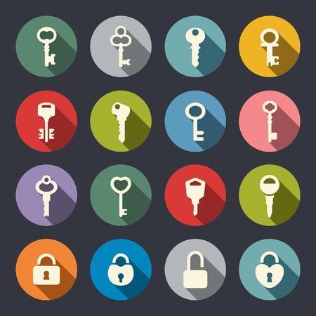 antique key: Key and locker icon set