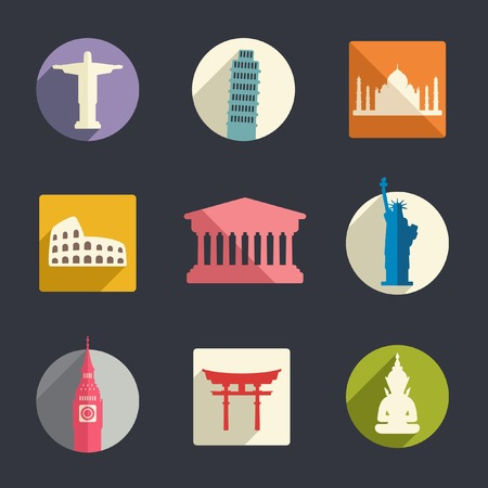 Famous travel landmarks flat icon set   Vector