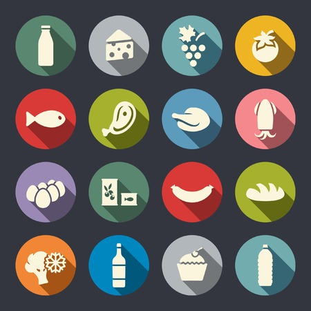 eggs and bacon: Food icon set  Illustration