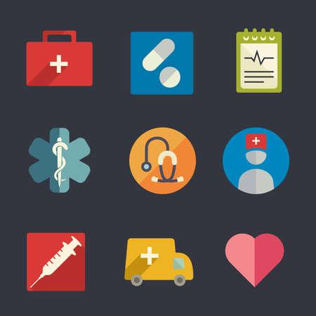 first aid kit: Flat icon set  Medicine