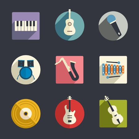 music instruments: Flat music icons