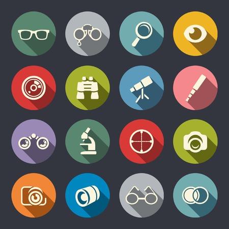 Optical icon set  Vector
